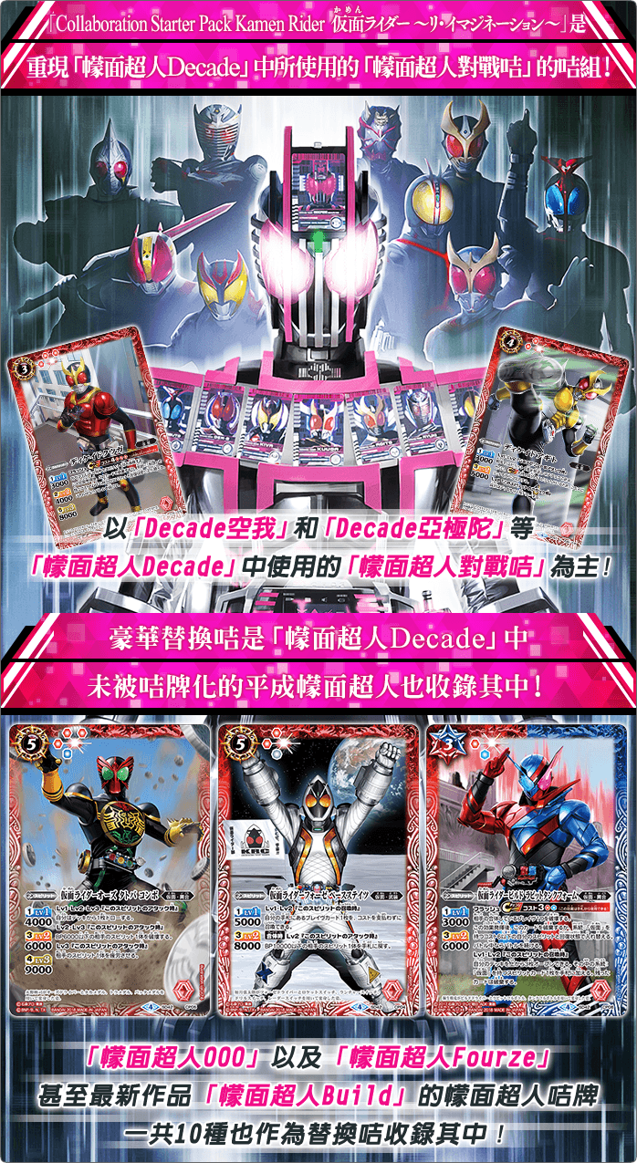 「Collaboration Starter Pack Kamen Rider 仮面ライダー ~リ・イマジネーション~」是重現「幪面超人Decade」中所使用的「幪面超人對戰咭」的咭組!